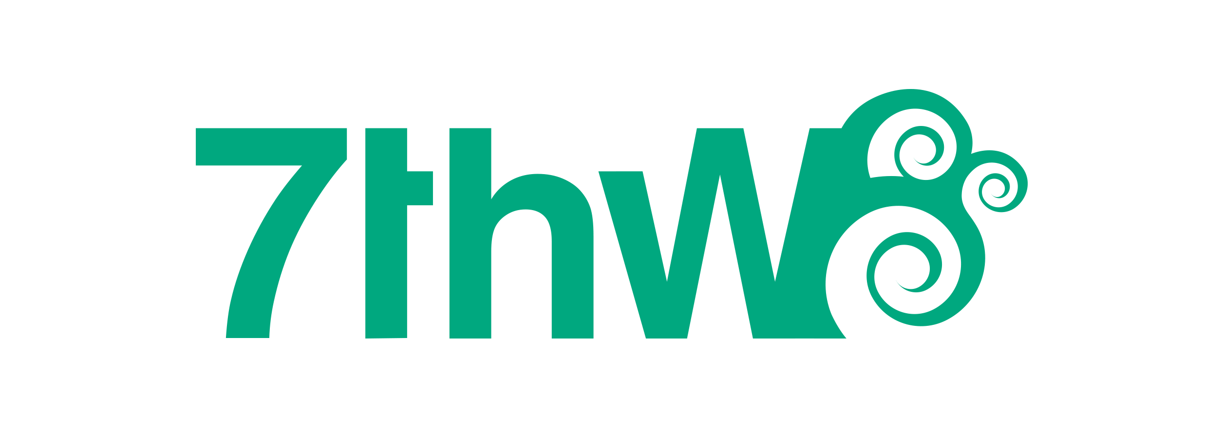 7th Wave Logo in aqua color in the shape of a 7thw with a wave illustration. 7th Wave is a company that does Web Design and Development in Key West Florida