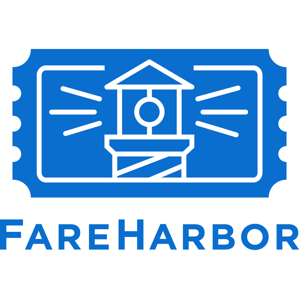 FareHarbor Logo which shows a lighthouse logotype on a blue background