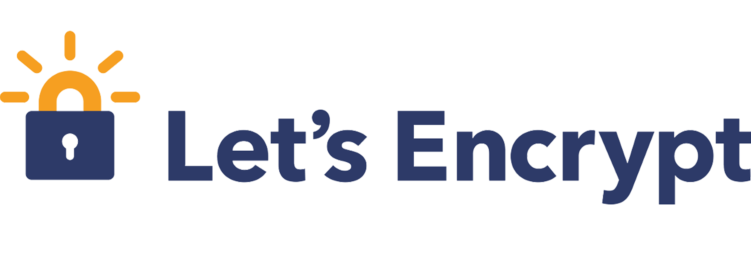 Let's encrypt logo with the illustration of a lock before the words Let's Encrypt representing the SSL saftety